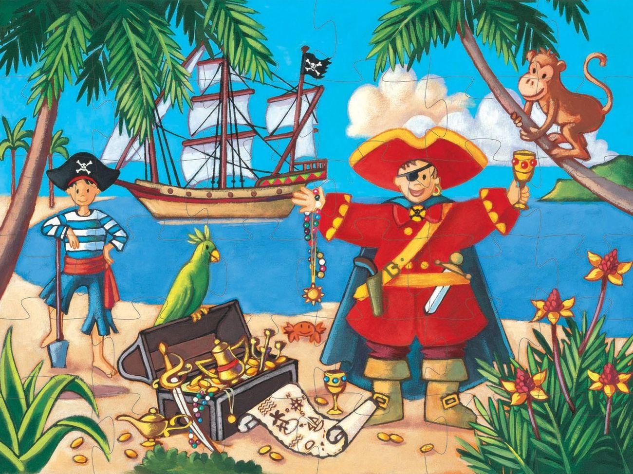 Картинки пираты детские, стиле комикса открытка